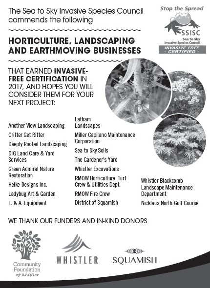 2017 Invasive-Free Certified businesses